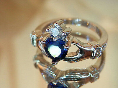 925 Sterling Marked Vintage Blue Heart Crystal Claddagh Ring Size 6 PRETTY 374j7