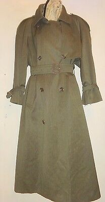 AQUASCUTUM TRENCH M LONG GREEN Womens 8 10 Loose Wool Coat Made in Canada 1980s