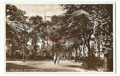 Leicestershire Leicester New Walk Real Photo Vintage Postcard 30.01