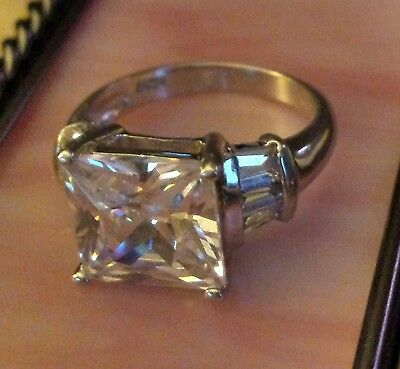 925 silver ring, large clear stone