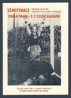 1967 DUKLA Prague v CELTIC European Cup SEMIFINAL Programme EXCELLENT Condition