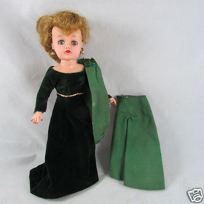 """10"""" Ideal Little Miss Revlon Doll with 4 Vintage Dresses  Gown Robe Vintage 50s"""