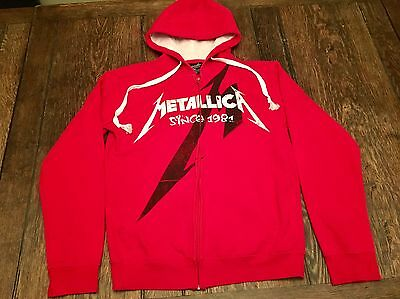 METALLICA mens M medium red zip up hooded sweatshirt Hoodie motorhead megadeth ~
