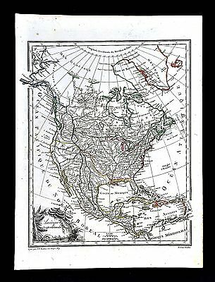 1812 Malte Brun Lapie Map North America United States Mexico Canada California