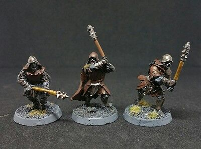 3 x Red Eye Uruk-hai Warriors with clubs Pro painted LOTR The Hobbit Rare OOP
