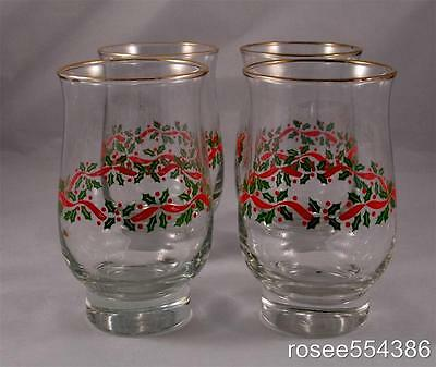 4 Arbys Holly Berry Ribbon Beverage 14oz Tulip Shaped Glasses Libbey Vintage