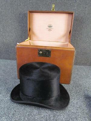 ANTIQUE ENGLISH LEATHER TRUNK with ORIGINAL TOP HAT, COLLINS & FAIRBANKS