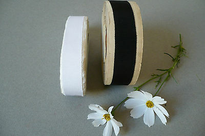 Vintage French Petersham/Grosgrain Ribbon. Black & White.  1 Metre
