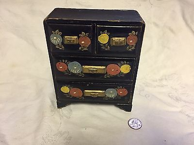 Stunning Hand Painted Lacquer Japanese Jewelry Chest
