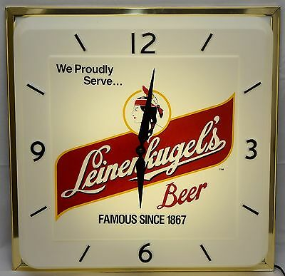 """NEW Vintage 1960's Leinenkugel's Beer 20"""" Lighted Clock Sign WITH BOX Wisconsin"""