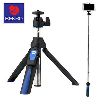 Benro Mini Tripod/Selfie Stick with Ball Head~Adapters for GoPro and Smartphones