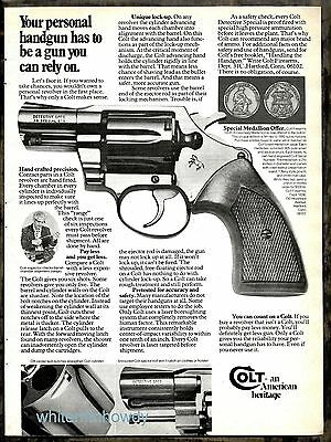 "1976 COLT Detective .38 Special Revolver w/2"" barrel PRINT AD Advertising"