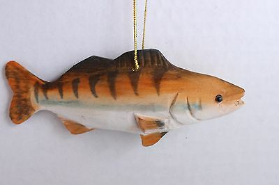 "5"" Wooden Wood Carved  Fish Salmon Christmas Tree Ornament #D"