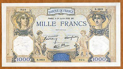France, 1000 francs, 1938, P-90c, WWII Ch. UNC   Huge