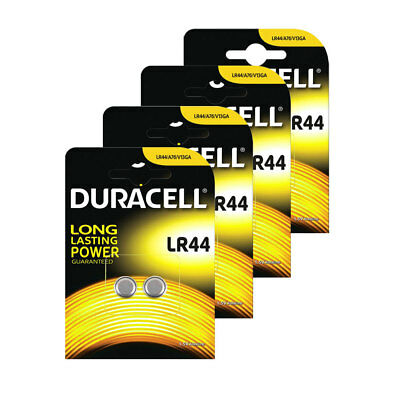 8x Duracell LR44 1.5V Button Coin Cell Battery A76 2 Pack Alkaline Batteries
