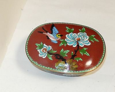 Rare Old Chinese Cloisonne Floral Birds Red Enamel Humidor Jar Box