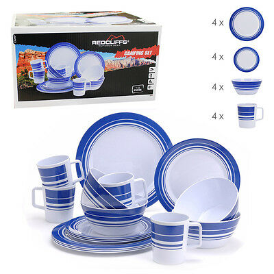 16 Pce Melamine Camping Set Outdoor Boat Caravan Picnic Dining Dinner Plate Cups