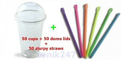 50 Plastic cups Cold cups + 50 dome lids + 50 slurpy straws size 15 OZ 425ml