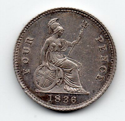 1836 King William IV Sterling Silver .925 Fourpence/Groat Coin