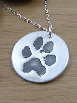 Silver Pet Print Keepsake Pendant made from YOUR PET'S OWN PRINT Made to Order