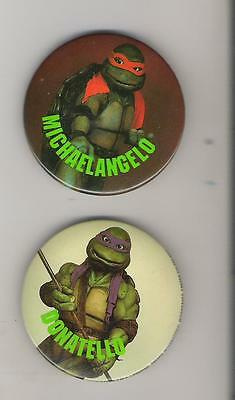 B2) Buttons - 2 TMNT Teenage Mutant Ninja Turtles - Donatello Michaelangelo