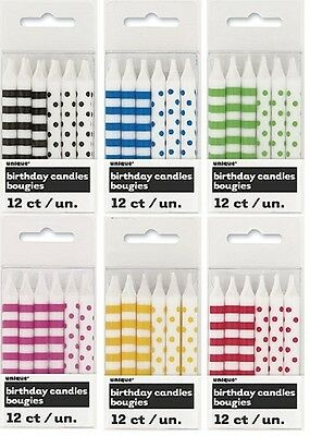 Dots & Stripes 12 Cake Candles {Unique} (Birthday/Cake/Party/Decoration)