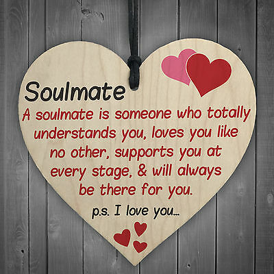 Soulmate I Love You Hanging Wooden Heart Valentines Day Gift Husband Wife Sign