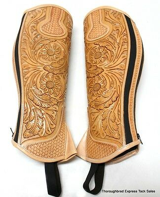 D.A. Brand Fully Tooled Light Oil Leather Half Chaps Size XL Horse Tack