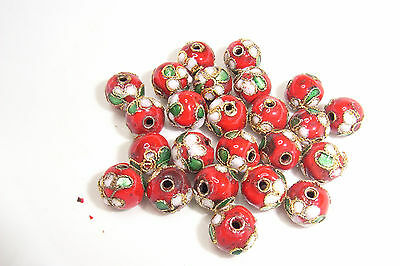 20 10mm Round Red Cloisonne Beads Metal with Enamel Pink Flower Design