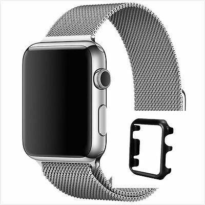 Milanese Silver Magnetic For Apple iWatch Strap Band  38mm Black Case