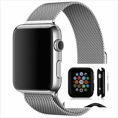 Milanese Silver Magnetic For Apple iWatch Strap Band  38mm With Case
