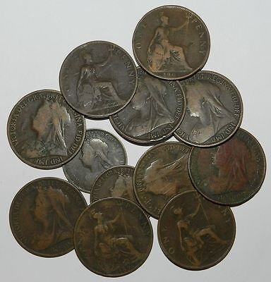 GREAT BRITAIN : 12 X QUEEN VICTORIA VEILED HEAD COINS - Pennies & Half Pennies