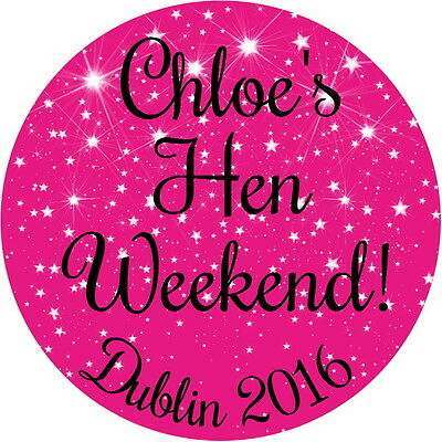 24 Personalised, Gloss Hen Party,weekend,bridal Shower Stickers 100 Colours