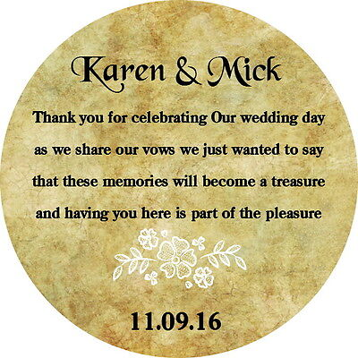 24 Personalised Wedding Favour Thank You Poem Gloss Stickers, Shabby Chic