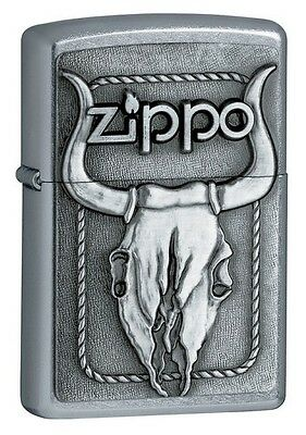 Zippo 20286, Bull Skull, Emblem, Street Chrome Finish Lighter, Full Size