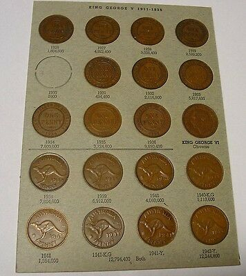 Australian Pennies 1926 to 1942 all dates & mints except 1930 - 19 coins.