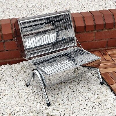 Portable Stainless Steel Bbq Charcoal Barbecue Garden Outdoor Camping Picnic