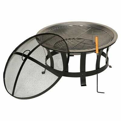 Outdoor Fire Pit Bbq Barbecue Round Black Garden Patio Heater Burner Basket