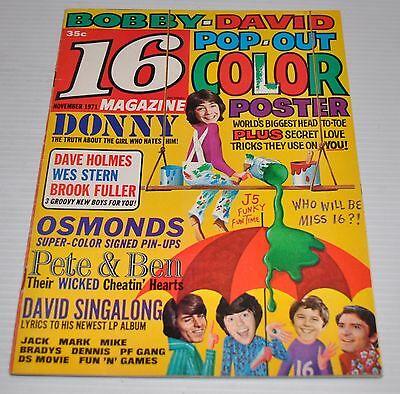 - 16 MAGAZINE November 1971 Donny Osmond , David Cassidy -