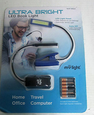 Ultra Bright LED Booklight 2pk w/ 6 AAA Batteries Slim Book Laptop Reading Lamp