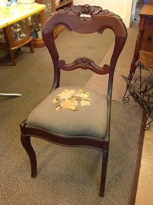 Free Shipping!! Vintage Antique Hand Carved Needle Point Flowers Wood Chair