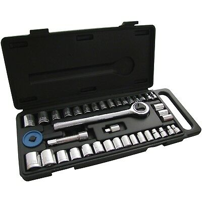"40pc 1/4"" & 3/8"" Socket Driver Set Metric Imperial Ratchet Bolts Spark With Case"