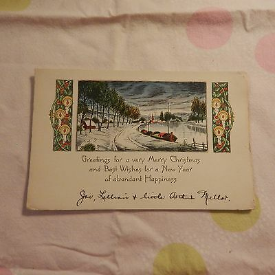 Vintage Christmas Card, Unmarked, Single-Side Card, Frozen Lake & Boats