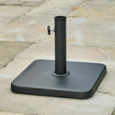 Square Parasol Base Black Steel Concrete Patio Umbrella Holder Sunshade Wido