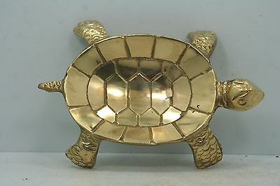 "Solid Brass Turtle Soap Dish Trinket Tray - India - 5"" Long"