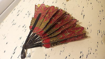 Antique HAND-HELD FAN, RED & GOLD HEAVY PAPER, Ornate Design