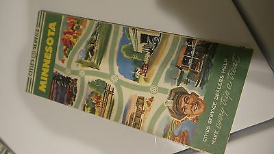 Circa 1950 CITIES SERVICE MINNESOTA ROAD MAP