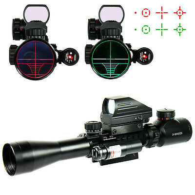 3-9X40EG Tactical Rifle Scope with Holographic 4 Reticle Sight & Red Laser JG8