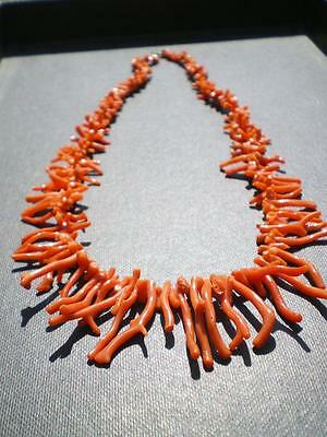 PURE NATURAL RED SALMON PRECIOUS CORAL GIANT NECKLACE ( SARDINIA ) 162 cts!!!