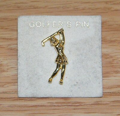 Lady Golfer's Woman Swinging Club Gold Tone Collectible Pin / Brooch *READ*
